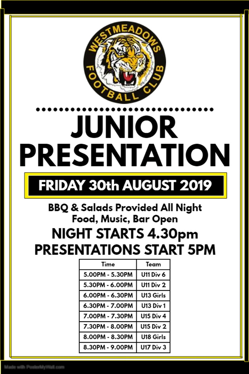 Junior Presentation Night - Friday 30th August 2019 - All Teams in Finals